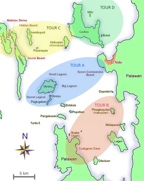 El Nido Tour Map