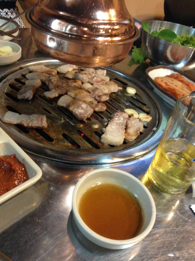 "Sam gyeop sal is ""three (sam; 삼) layered (gyeop; 겹) flesh (sal;살)"", referring to what appears to be three layers that are visible in the meat."