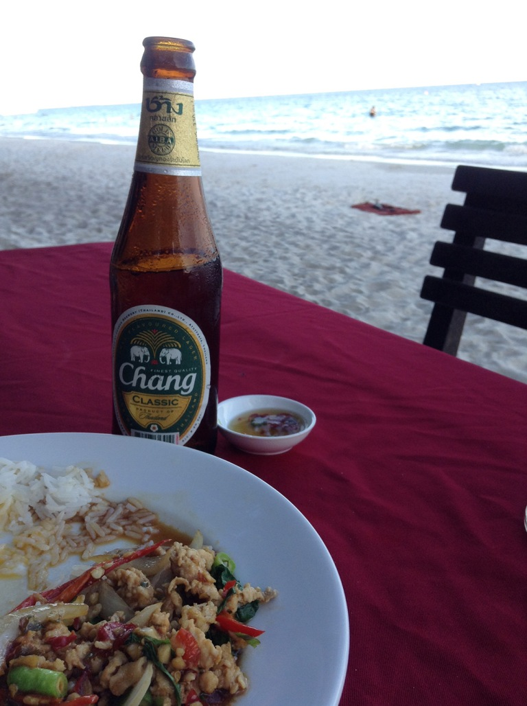 Gaprau gai is a staple of Thai cuisine. It goes great with Chang beer.