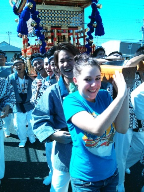 Carrying the mikoshi around Togane.