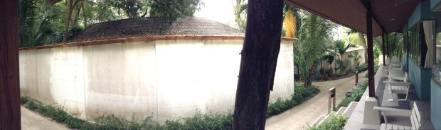 The view of concrete wall from our $125/night (and that's at a hefty discount!) Sai Kaew Beach Resort bungalow.