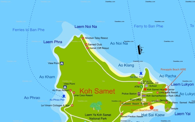 Koh Samed map showing how insanely far Sai Kai Beach Resort bungalows are from the beach.
