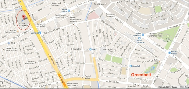Cash and Carry is about 10 minutes by taxi from the Greenbelt Shopping Area