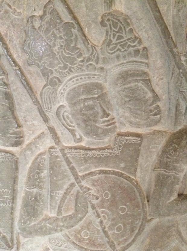 Bas relief soldiers Angkor Wat