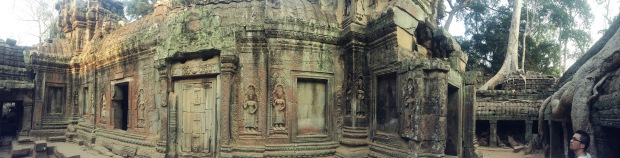 Some of the bas relief carving at Ta Prohm. Note the tree on the right. Tres cool!