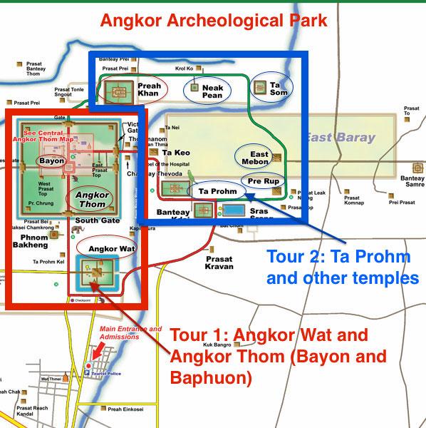 Angkor Tours Map