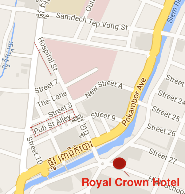 Siem Reap Pub Street and Royal Crown Map