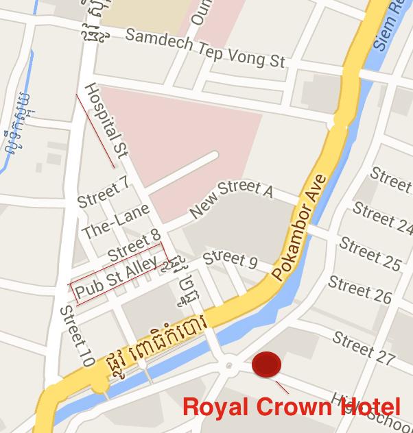 Siem Reap Pub Street and Royal Crown Map