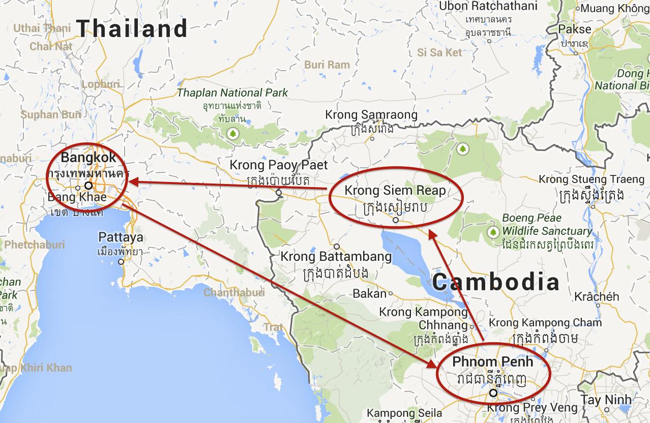 Bangkok — Phnom Penh — Siem Reap / Angkor — Bangkok Circle Route ...