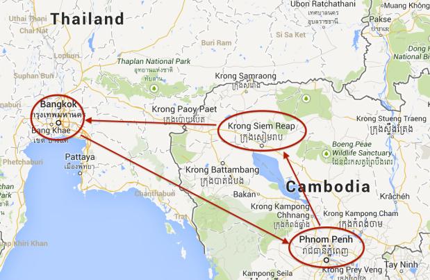 Bangkok => Phnom Penh => Siem Reap => Bangkok.