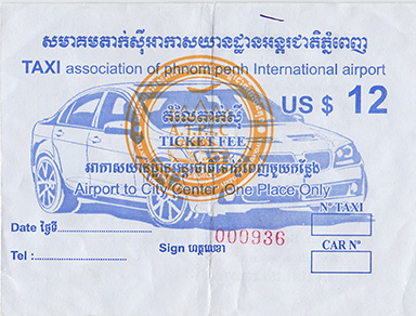 Taxi receipt from Phnom Penh airport to my hotel
